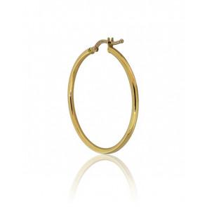 Boucle d'oreille créole en or jaune 18 carats, diamètre 30 mm