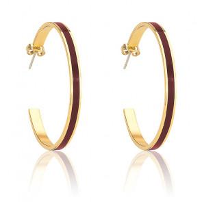 Boucles d'oreilles créoles Bangle rouge obscur & plaqué or jaune