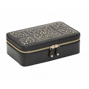 Boîte à Bijoux Zip Cuir Noir Marrakesh