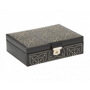 Boîte à Bijoux Plate Cuir Noir Marrakesh