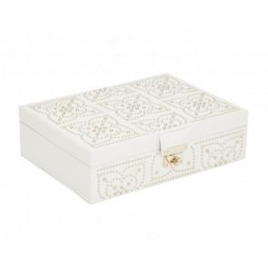 Boîte à Bijoux Plate Cuir Crème Marrakesh
