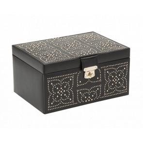 Boîte à Bijoux Cuir Noir Moyenne Marrakesh