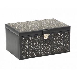 Boîte à Bijoux Cuir Noir Large Marrakesh