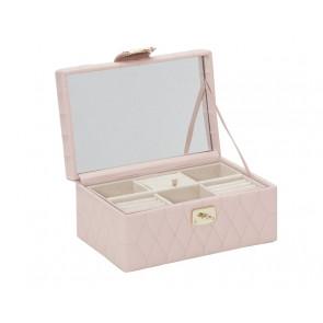 Boîte à Bijoux Cuir Rose Caroline Petite
