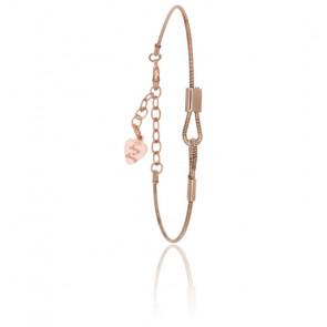 """Bracelet Corde de Guitare en Bronze """"Enchaîne Moi"""" Argent Rosé"""