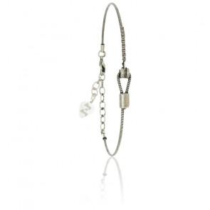 Bracelet Corde de Guitare Horizontale en Bronze Plaqué Argent Vieilli