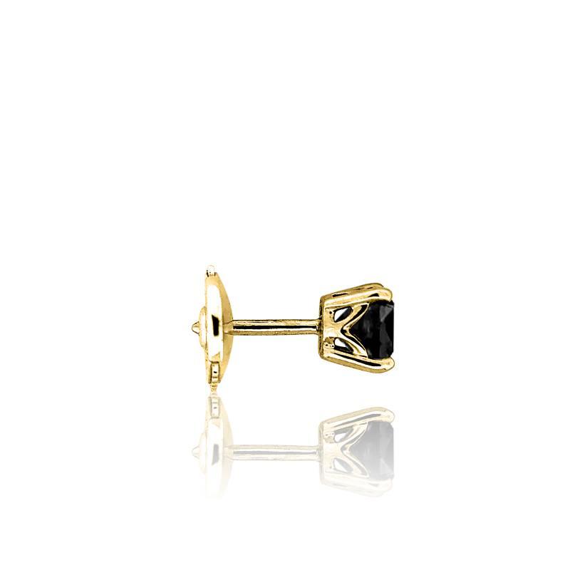 Boucle d 39 oreille pour homme en or jaune et diamant noir - Boucle d oreille homme diamant noir ...