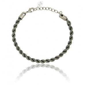 Bracelet Twist Corde de Basse & Cordon Noir Plaqué Argent Vieilli