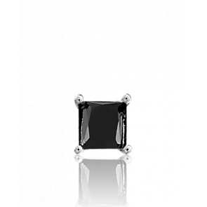 1 Boucle d'Oreille Black Square Or Blanc - Collection by Ocarat Paris