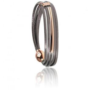 Bracelet Mini Multiliens Tube Gris Rosé
