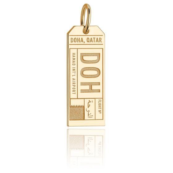 Pendentif Étiquette de Bagage DOH Doha Qatar Plaqué Or Jaune 14K