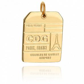 Pendentif Étiquette de Bagage CDG Paris Plaqué Or Jaune 14K
