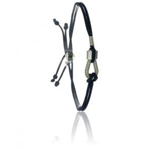 Bracelet Corde de Basse & Cordon Bleu Marine Plaqué Argent
