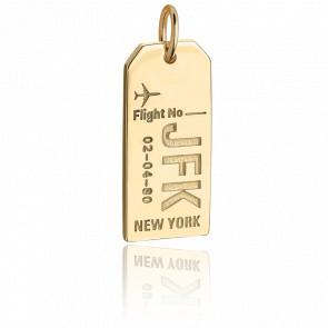 Pendentif Étiquette de Bagage JFK New York Plaqué Or Jaune 14K