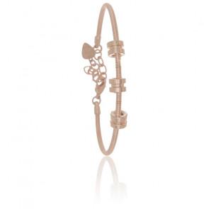 Bracelet 3 Fixations Corde de Basse en Acier Argent Rosé