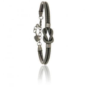 Bracelet Noeud Corde de Basse Plaqué Argent Vieilli
