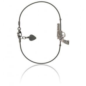 Bracelet Revolver Corde de Guitare Plaqué Argent Vieilli