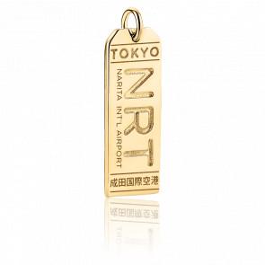 Pendentif Étiquette de Bagage NRT Tokyo Plaqué Or Jaune 14K