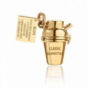 Pendentif Shaker Cocktail Manhattan Plaqué Or Jaune 14K