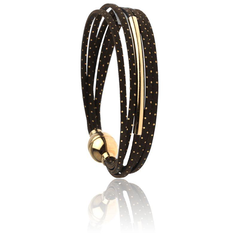 Bracelet Mini Multiliens Tube Pois Dorés