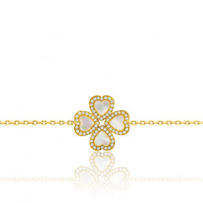 Bracelet Trèfle Nacré Diamanté Or Jaune