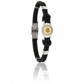 Bracelet Douille Bang Bang, Cordon Noir & Acier