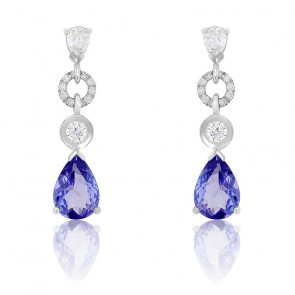 Boucles d'Oreilles Gouttes Diamants, Tanzanite & Or Blanc 18K