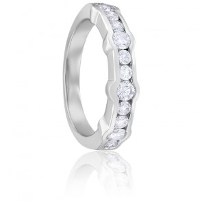 Bague Gasby Demi-Tour Diamants & Or Blanc 18K