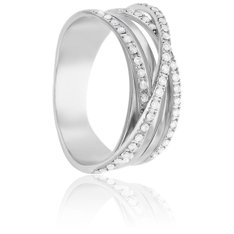Bague Enroulement Diamantée Or Blanc 18K