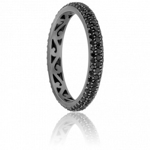 Bague Jonc Diamants Noirs 0,80 ct & Or Noir 18K