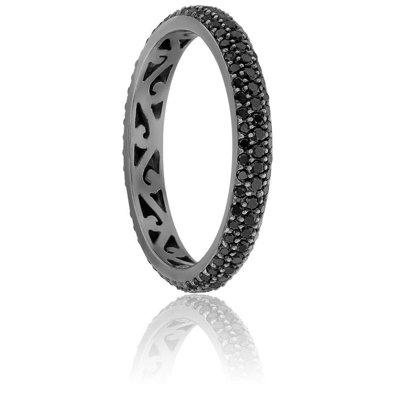 Bague Jonc Diamants Noirs 0,80 ct & Or Noir 18K
