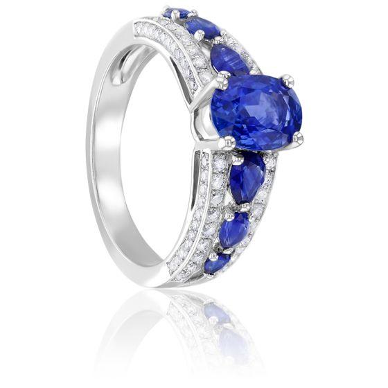 Bague Elizabeth Saphirs, Diamants & Or Blanc 18K