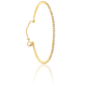 Bracelet Jonc Flexible Diamants & Or Rose 18K