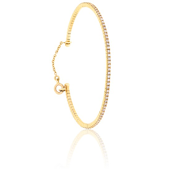 Bracelet Jonc Flexible Diamants & Or Rose 18K