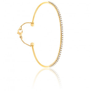 Bracelet Jonc Flexible Fil Rond Diamants & Or Rose 18K