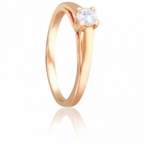 Bague Solitaire Romarin, Diamant 0,25 ct & Or Rose 18K
