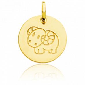 Médaille Zodiaque Petit Bélier Or Jaune 18K