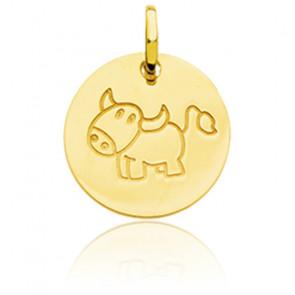 Médaille Zodiaque Petit Taureau Or Jaune 18K