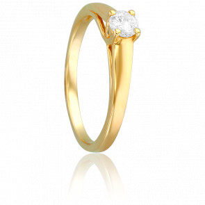 Bague Solitaire Romarin, Diamant 0,25 ct & Or Jaune 18K
