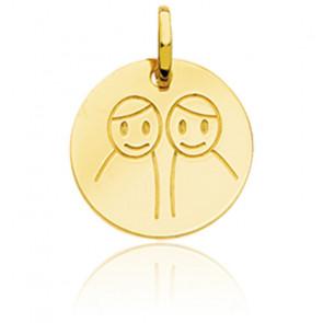 Médaille Zodiaque Petits Gémeaux Or Jaune 18K