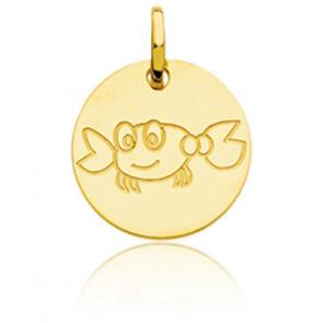 Médaille Zodiaque Petit Cancer Or Jaune 18K