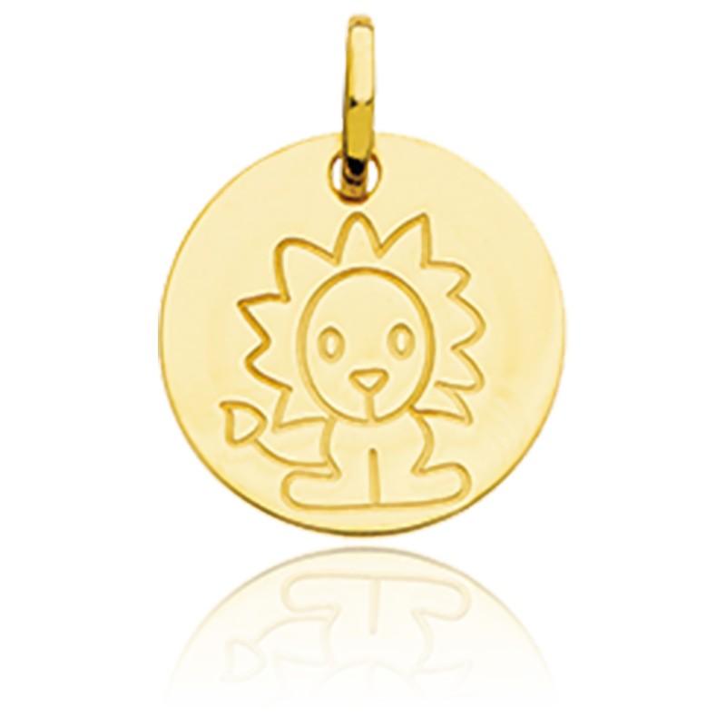 Médaille Zodiaque Petit Lion Or Jaune 18K