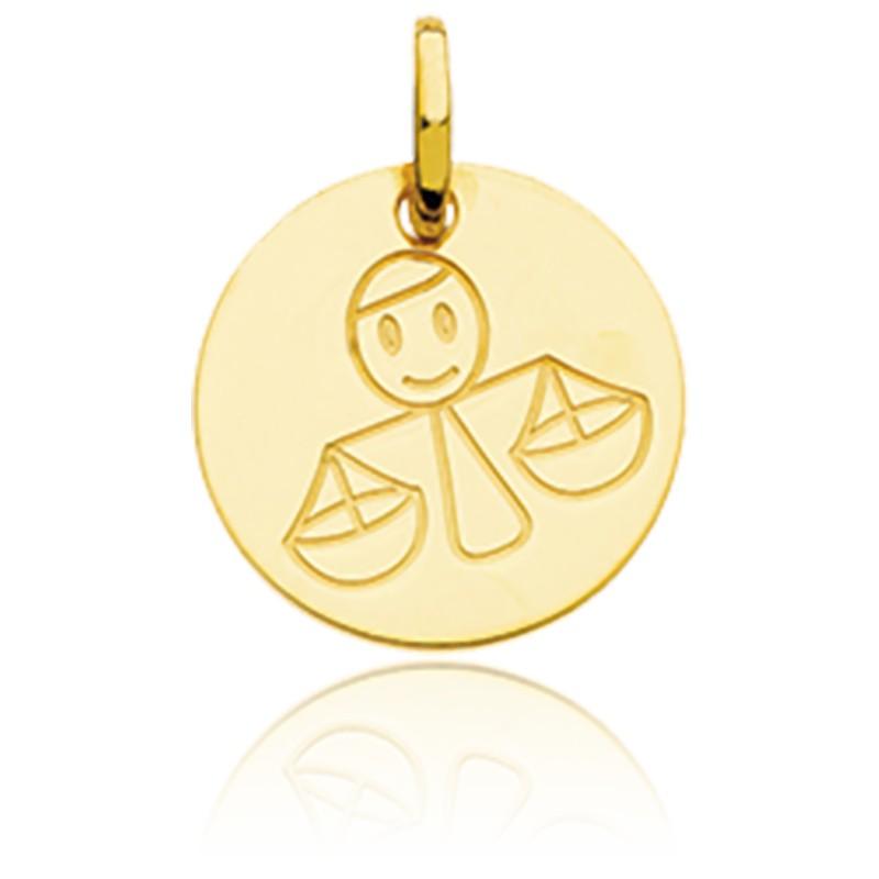 Médaille Zodiaque Petite Balance Or Jaune 18K
