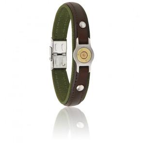 Bracelet Douille Bang Bang Vert, Cuir Marron & Acier