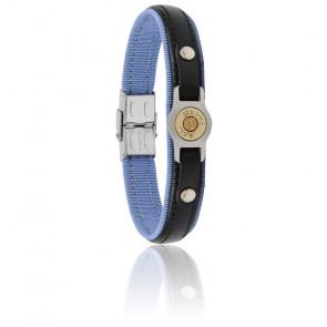 Bracelet Douille Bang Bang Bleu Ciel, Cuir Noir & Acier