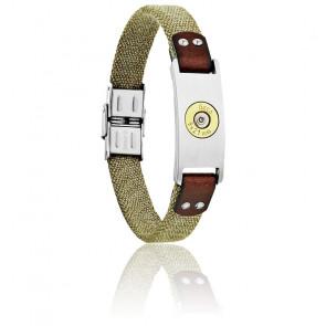 Bracelet Plaque Bang Bang GM, Canevas Kaki & Acier
