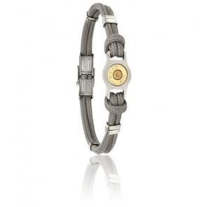 Bracelet Douille Bang Bang, Cordon Gris & Acier