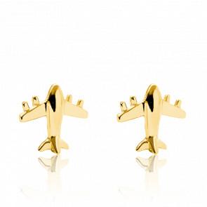 Boucles d'oreilles avion, plaqué or jaune 14K