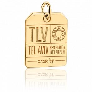 Pendentif Étiquette de Bagage TLV Tel Aviv Plaqué Or Jaune 14K