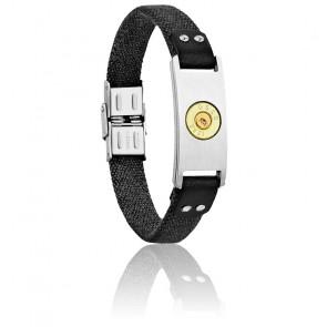 Bracelet Plaque Bang Bang GM, Canevas Noir & Acier